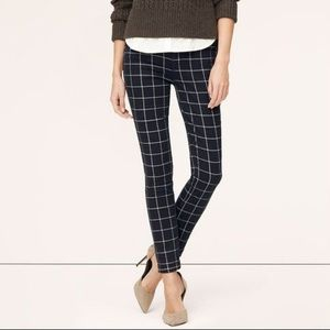 Loft Modern Skinny Ankle Windowpane Plaid Jeans